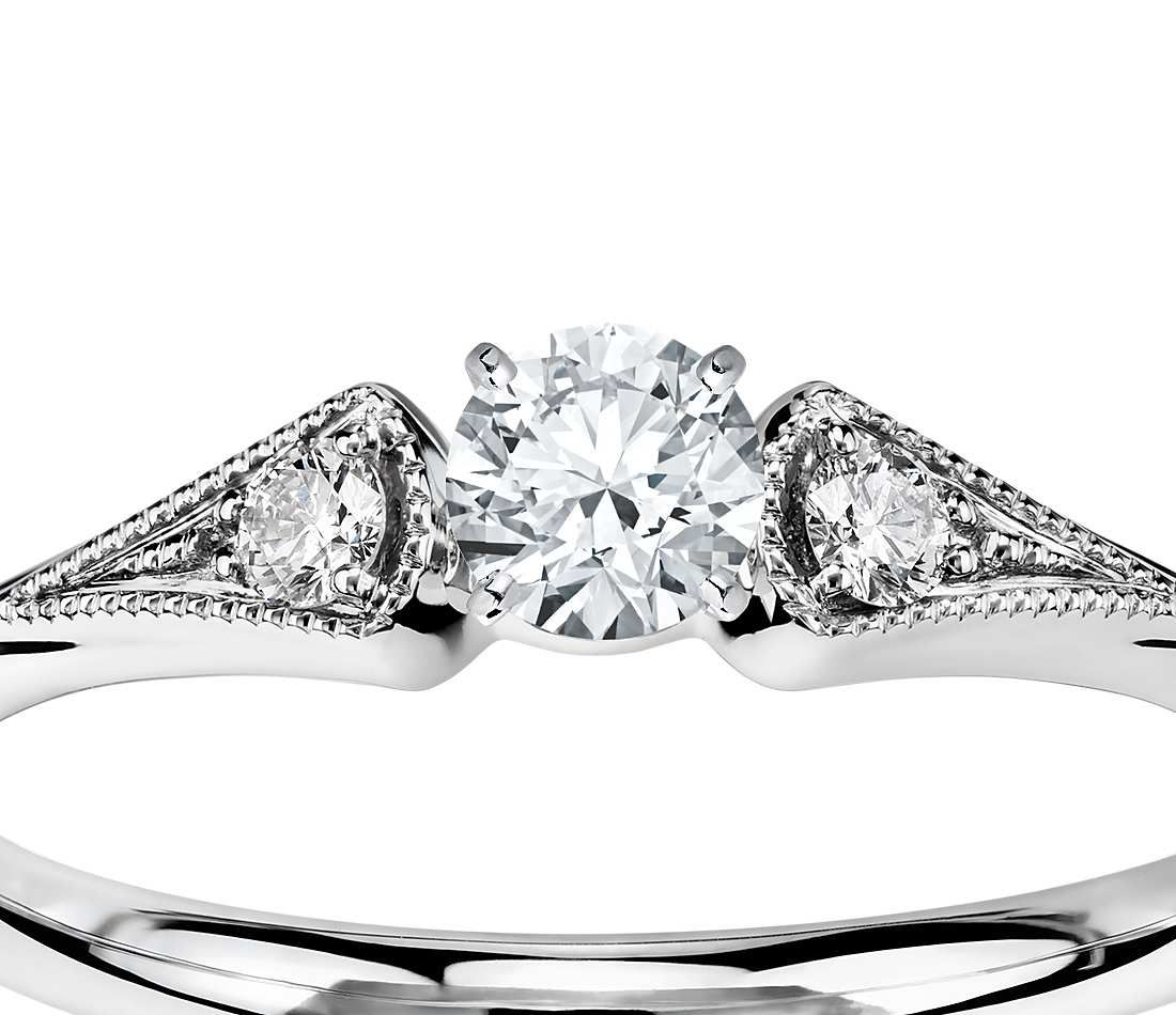 build a wedding ring Heirloom Petite Milgrain Engagement Ring in 14k White Gold