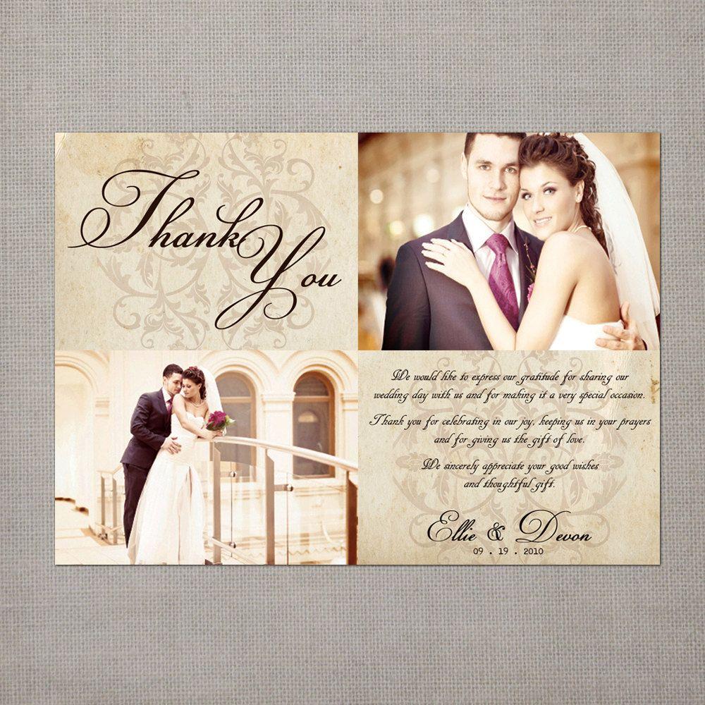 thank you wedding cards Vintage Wedding Thank You Cards Wedding Thank You Cards the Ellie