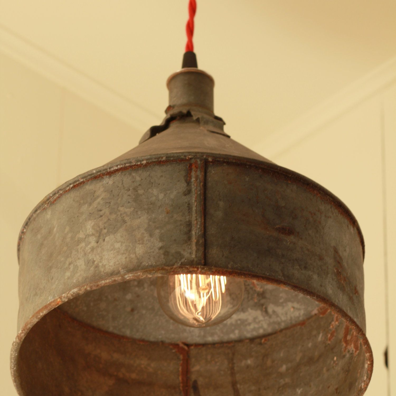 rustic kitchen lighting RESERVED for Jacquidowd Rustic Lighting with Vintage Rustic Funnel Shade Pendant