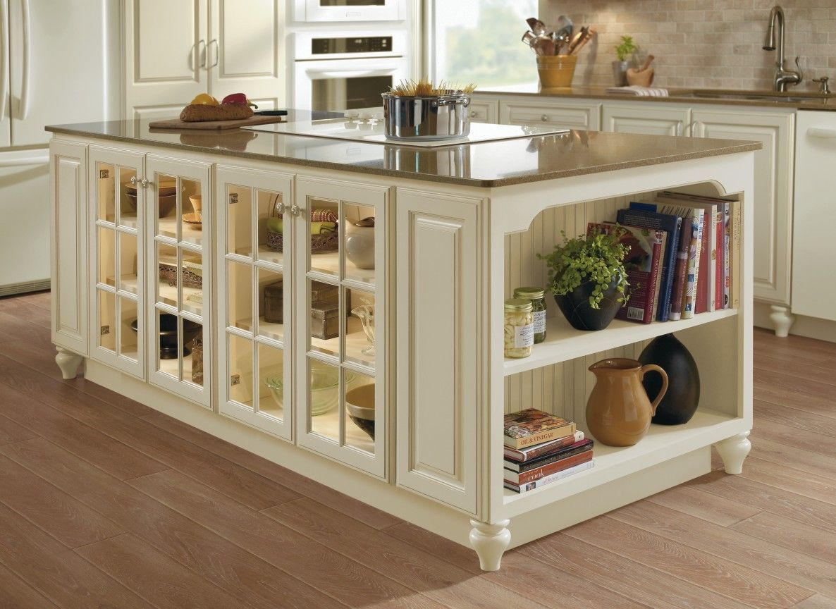 kitchen islands kitchen island cabinets Kitchen island cabinet unit in ivory with fawn glaze and glass mullion cabinet doors with exposed