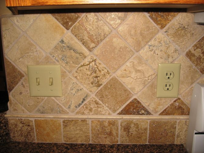 stone backsplash kitchen Sandstone Tile Backsplash Stone Tile Backsplash Diamond Pattern