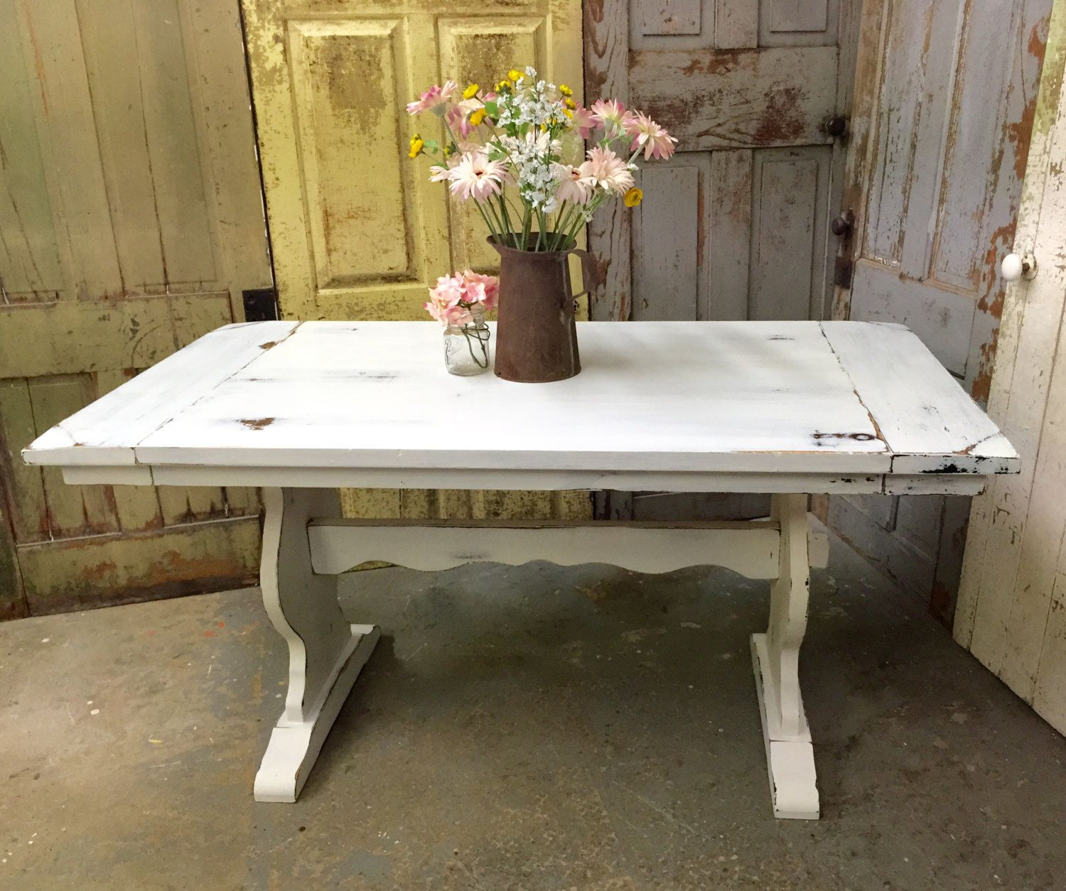 white kitchen tables White Kitchen Table Rustic Dining Room Table Painted Furniture Beach Cottage Furniture