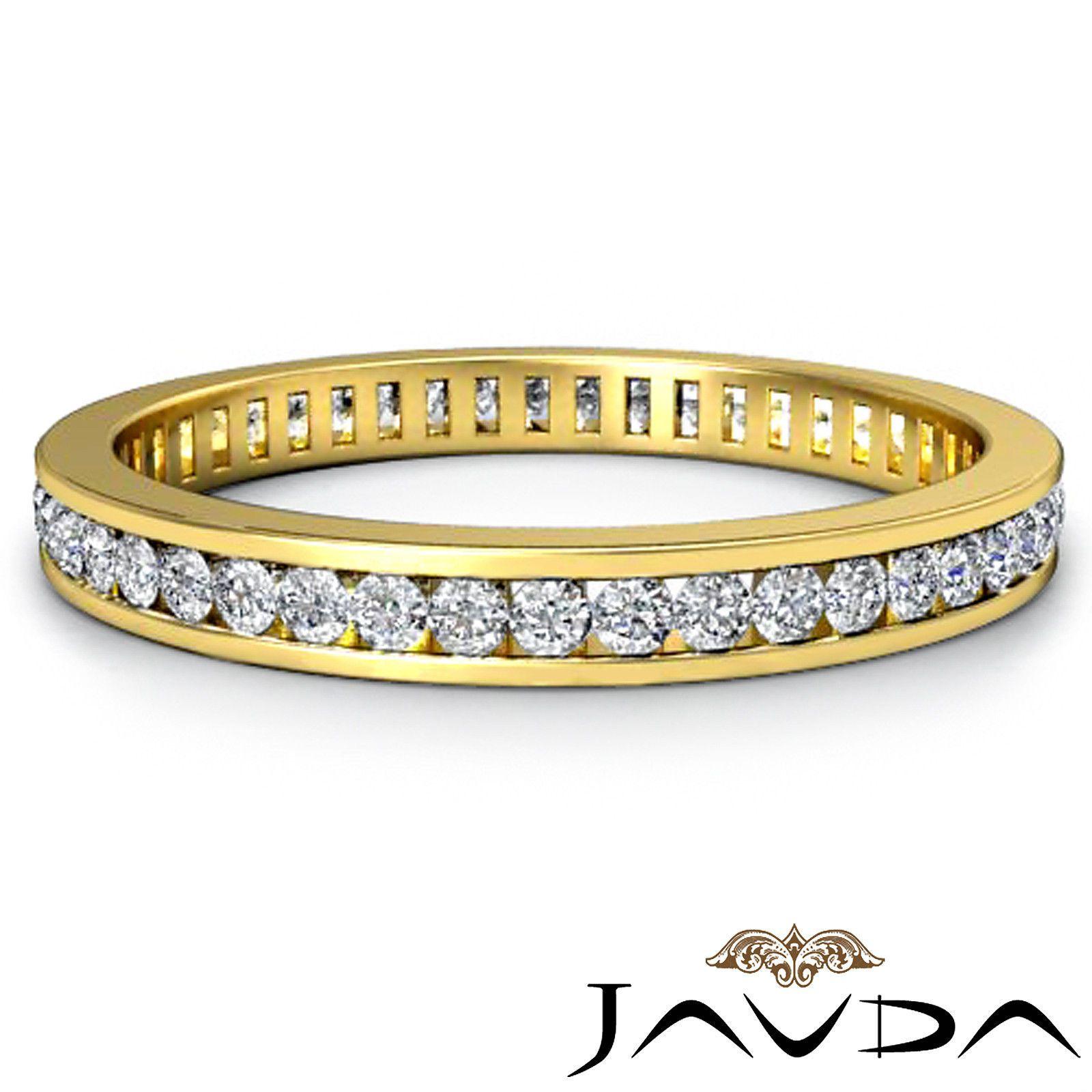ebay wedding ring sets Womens Eternity Band Channel Set Diamond Engagement Ring 18K Yellow Gold 0 70ct eBay