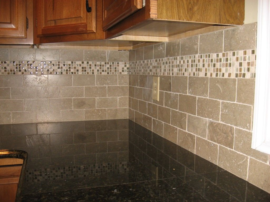 mom kitchen backsplashes in kitchens New kitchen backsplash with tumbled limestone subway tile and mixed mosaic accent