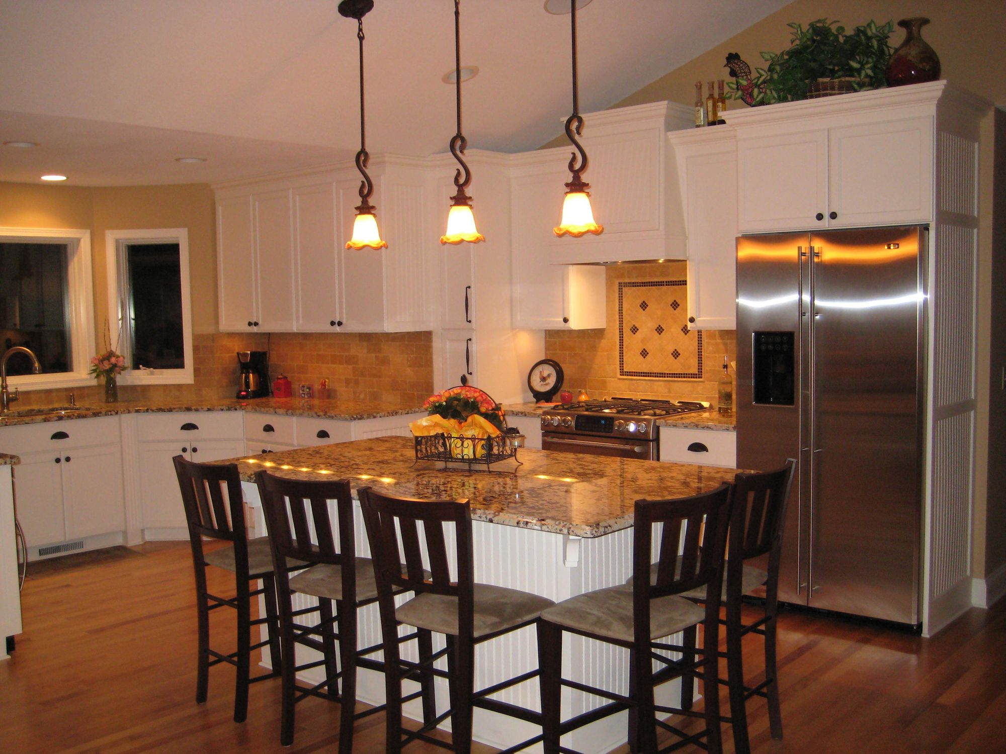 split level homes split level kitchen remodel A split level house in Chanhassen gets a family friendly kitchen and dining room makeover Peak ceiling with cabinets