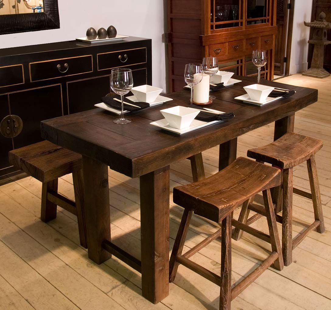 rustic kitchen tables Wood dining tables Oriental Chinese Interior Design Asian Inspired Dining Room Home Decor http www