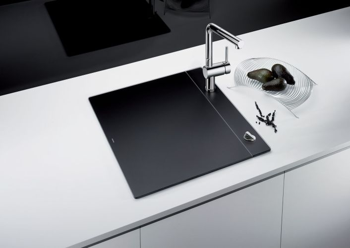 kitchen sinks small kitchen sinks The award winning BLANCO CRYSTALLINE in black sink vanishes when not in use to give small kitchens more counterspace