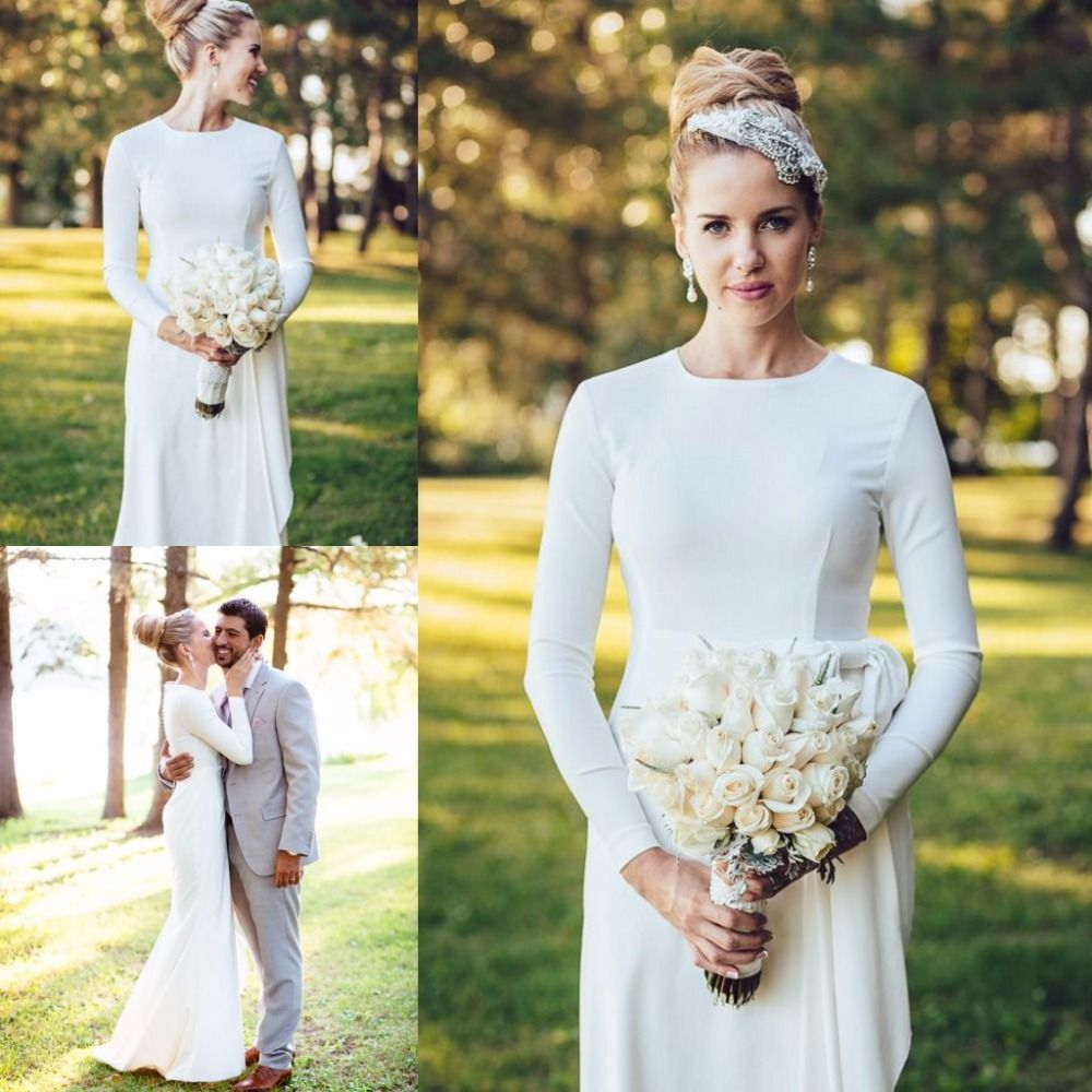 simple elegant wedding dress Elegant Simple Wedding Dress High Neck Long Sleeve Mermaid Floor Length Wedding Dresses Buttons Satin White