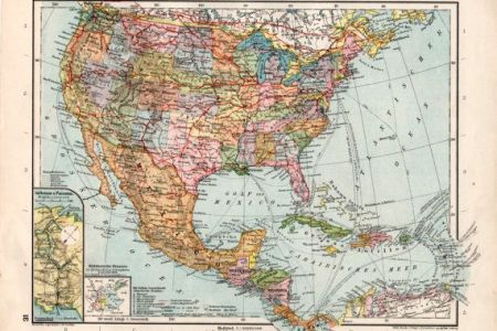 1926 united states old map mexico guatemala costa by