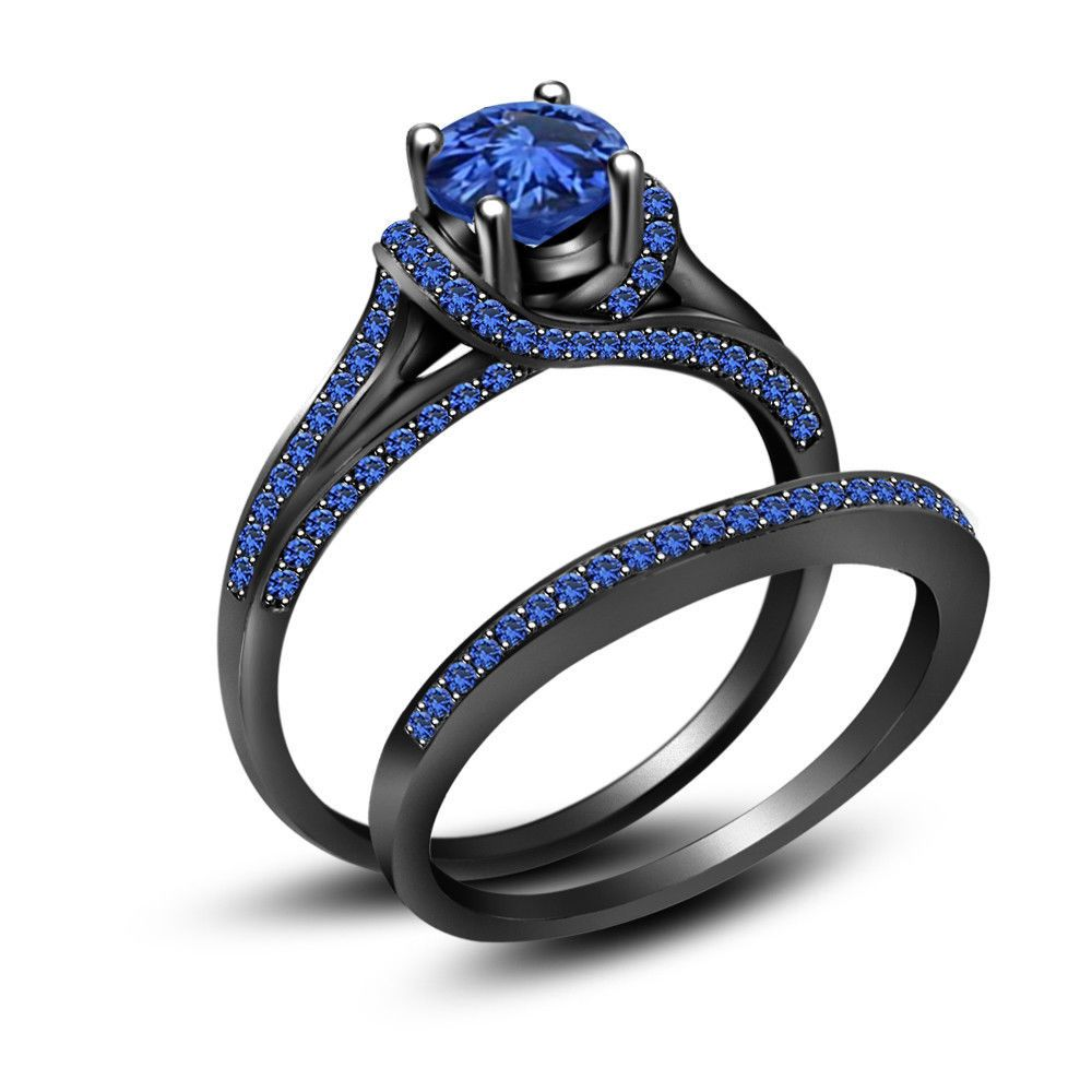 black wedding bands 3 50 ct Blue Sapphire Full Black Sterling Silver Engagement Wedding Ring Set