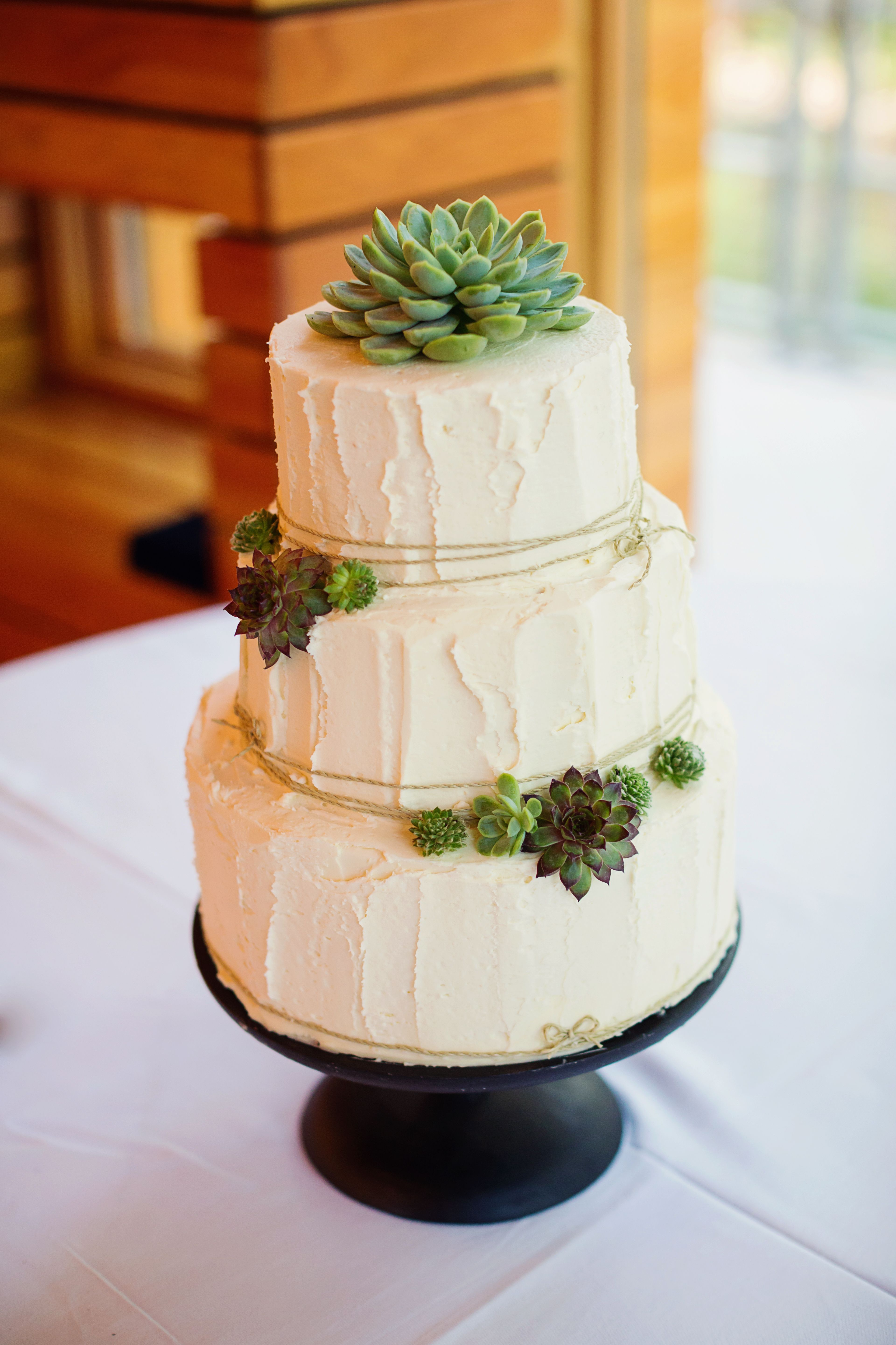 rustic wedding cake toppers Buttercream Wedding Cake with Succulent Detail