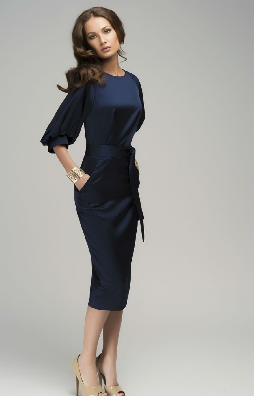 navy dresses for weddings Chic Navy Blue Maxi Dress Evening Retro Style Wedding Dress Pencil with Belt 60 00