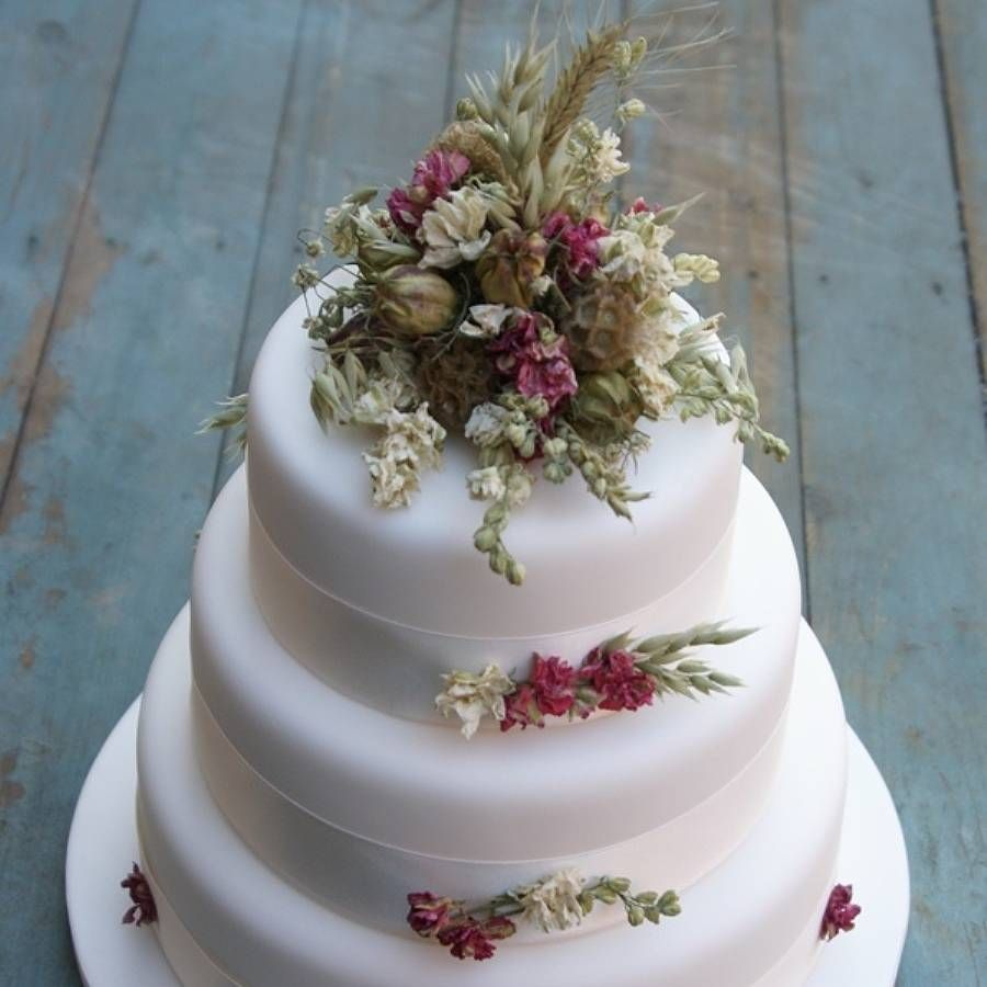 rustic wedding cake toppers Rustic Dried Flower Wedding Cake Decoration