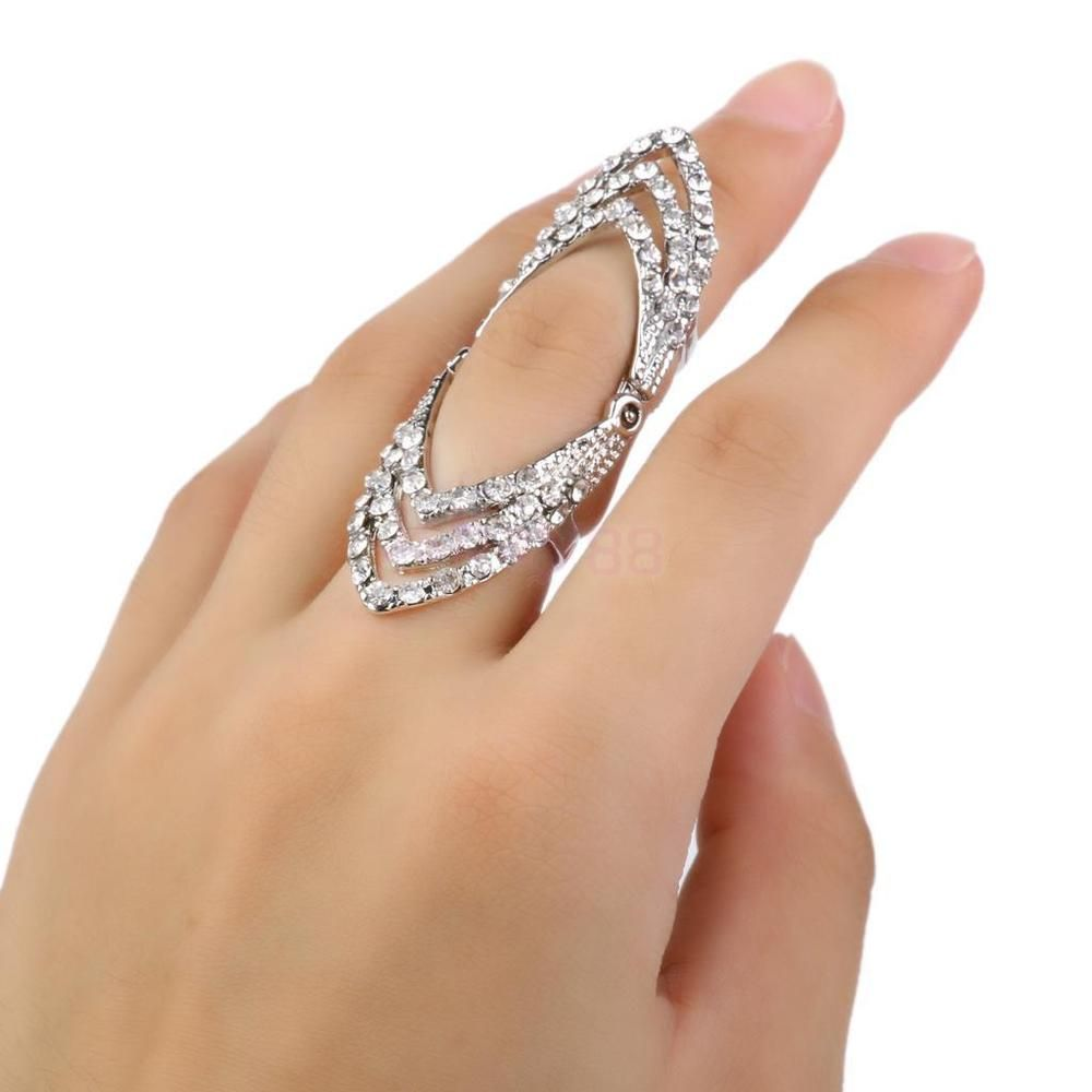 hinged wedding ring Goth Punk Silver Crystal Diamante Knuckle Armor Hinged Long Full Finger Ring