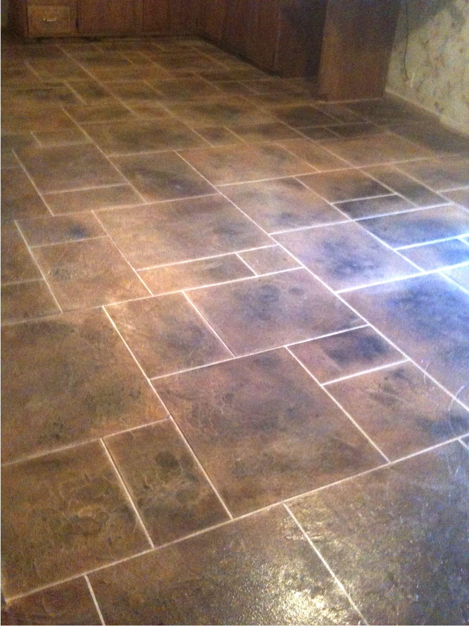 kitchen tile floor Kitchen Floor Tile Patterns concrete overlay random pattern stone tile kitchen floor