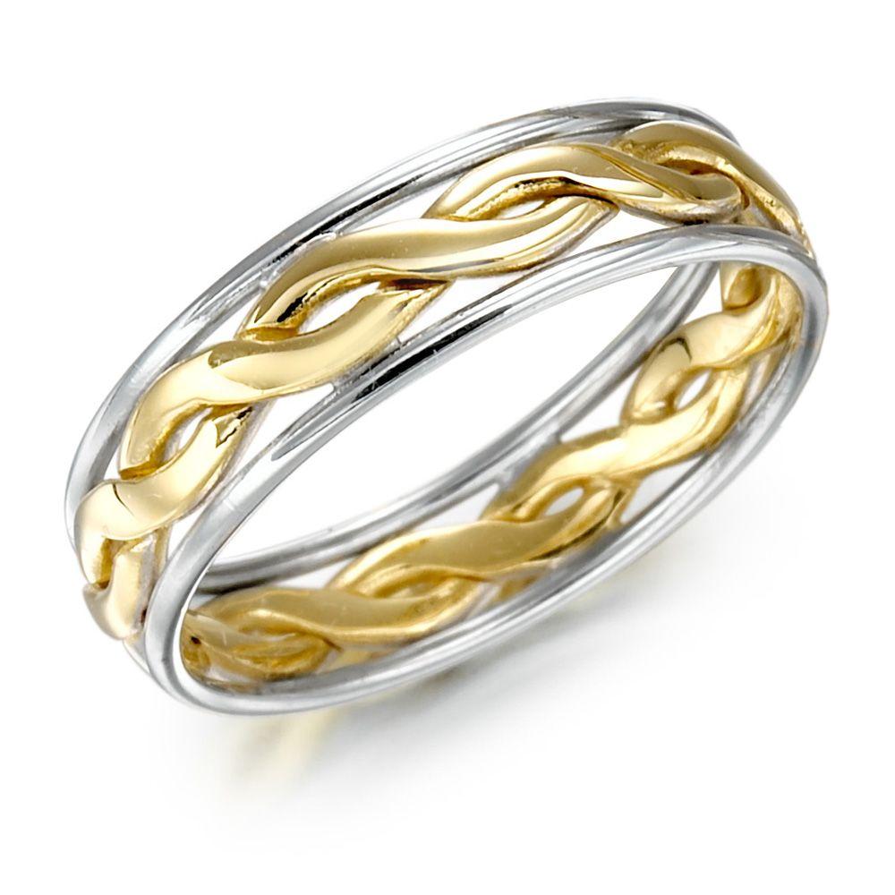two tone wedding band Irish Wedding Ring Mens Gold Two Tone Celtic Knot Wedding Band
