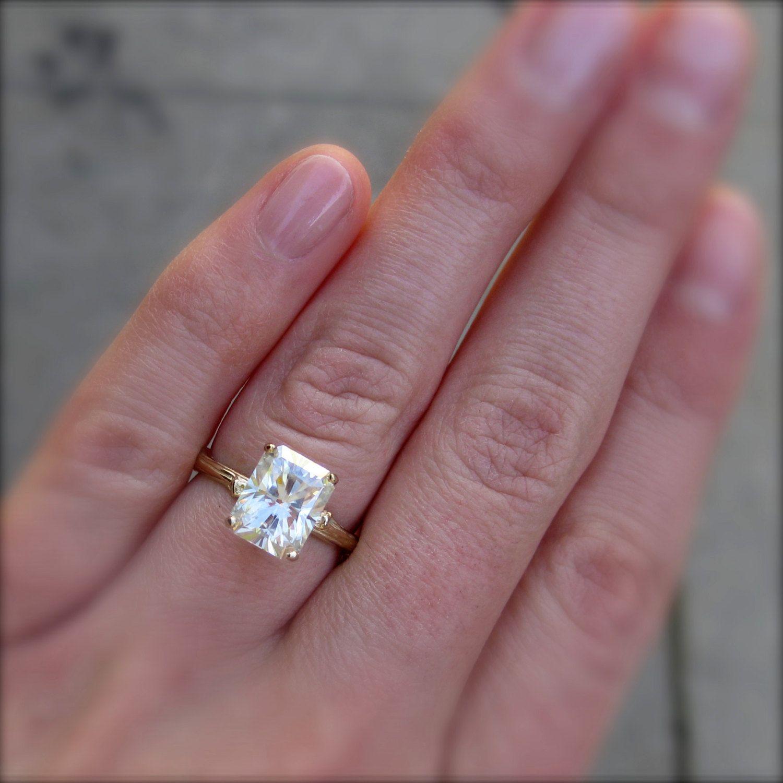 emerald cut wedding rings Emerald Cut Moissanite Branch Engagement Ring