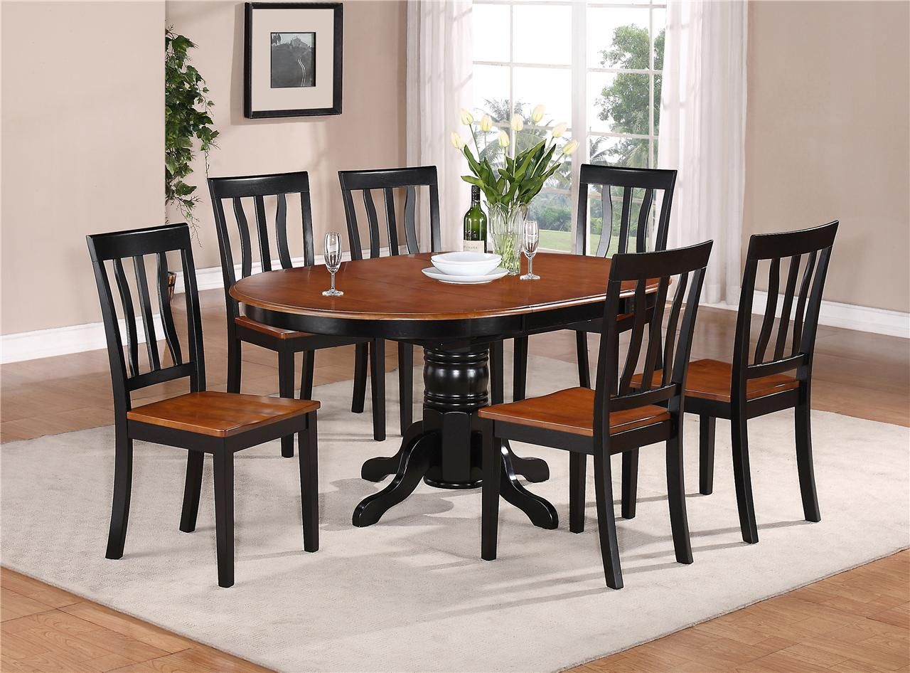 kitchen tables and more 7 PC OVAL DINETTE KITCHEN DINING SET TABLE w 6 WOOD SEAT CHAIRS IN BLACK CHERRY