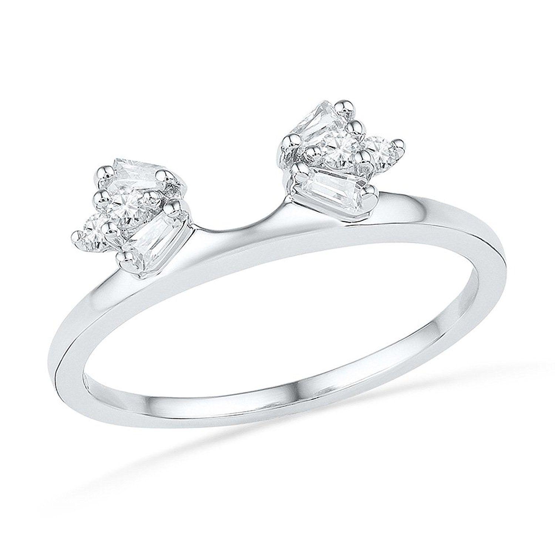 wedding ring guard 14kt White Gold Womens Baguette Natural Diamond Ring Guard Wrap Solitaire Enhancer 20 cttw