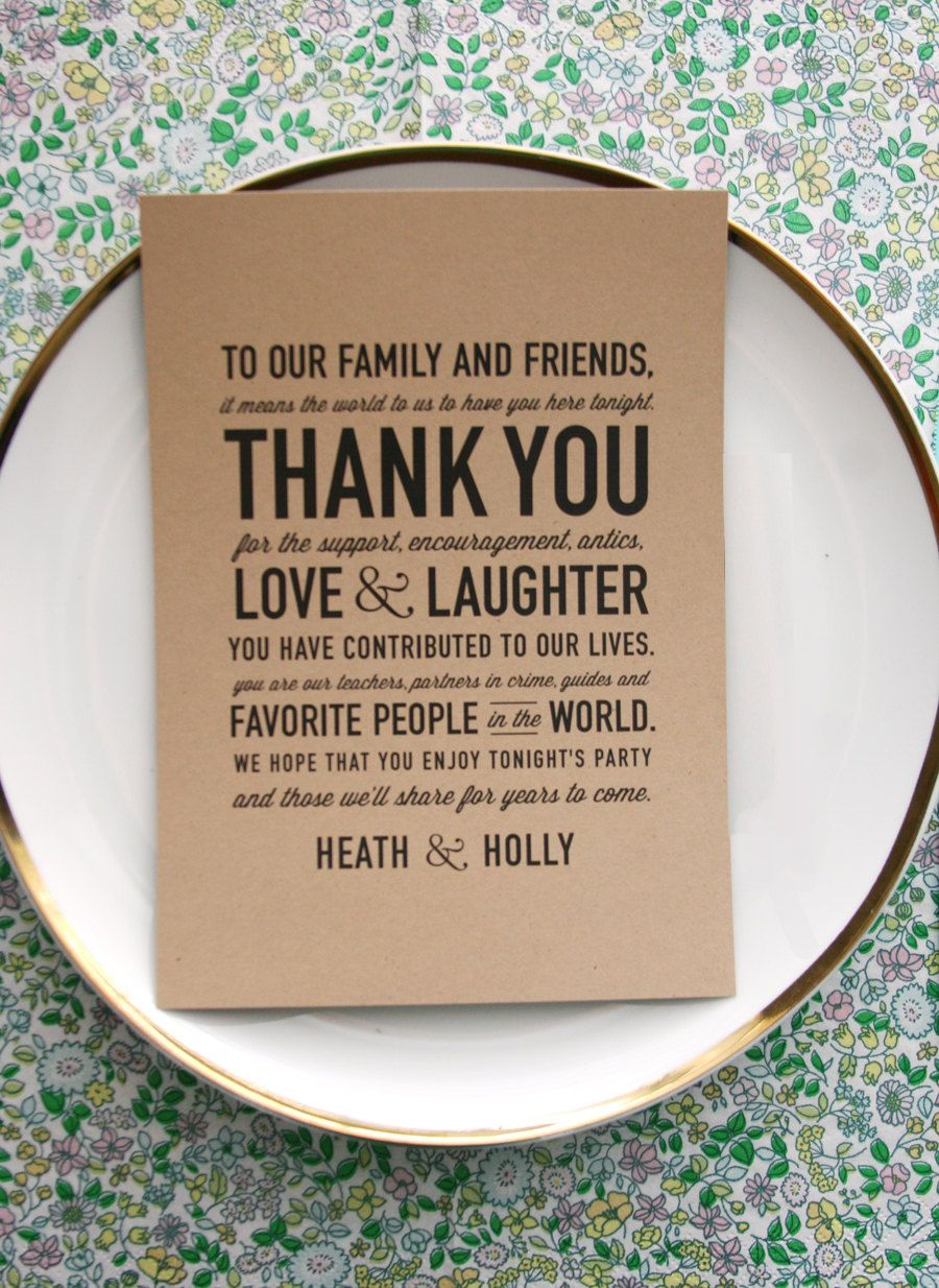 thank you wedding cards wedding reception thank you card So sweet and makes a huge impact statement
