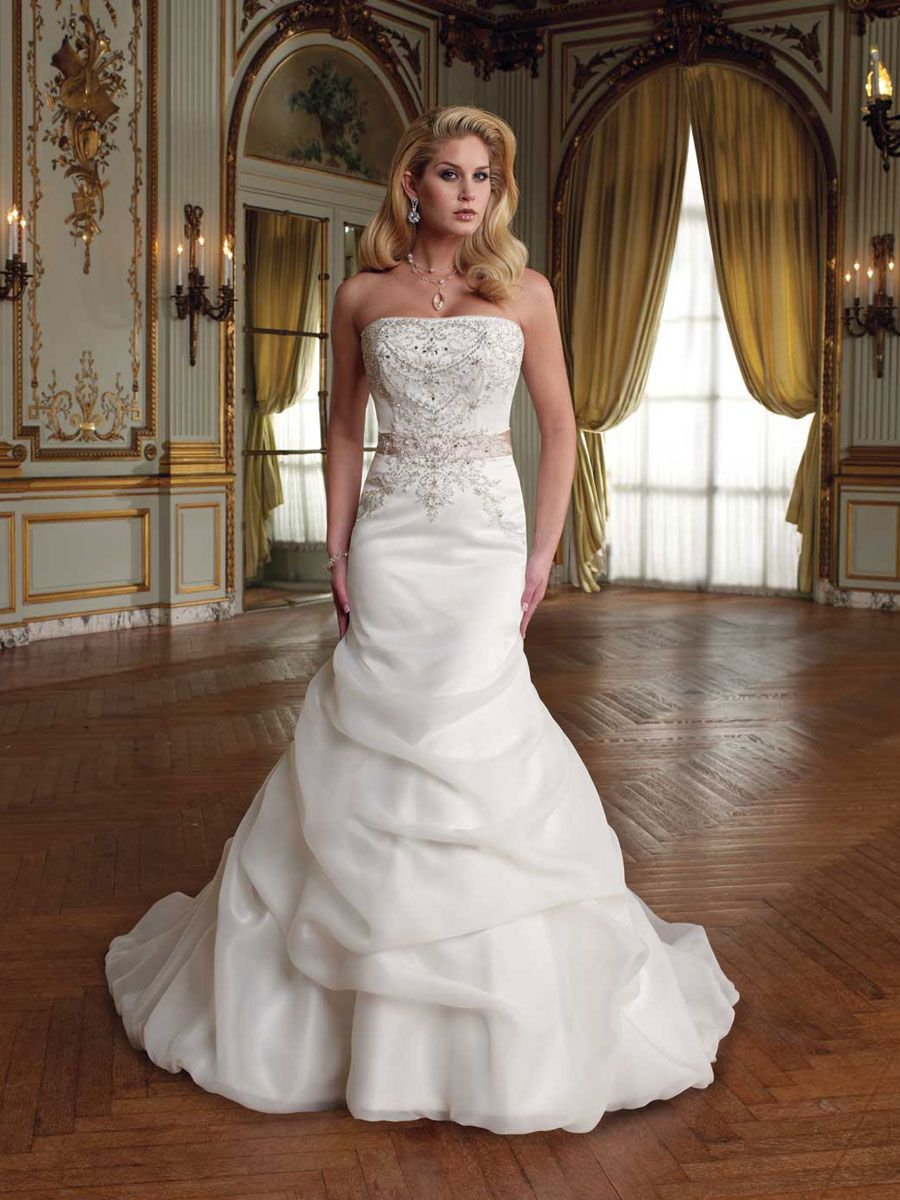 strapless mermaid wedding dresses strapless organza satin mermaid wedding dress with crystal bodice and pick up skirt