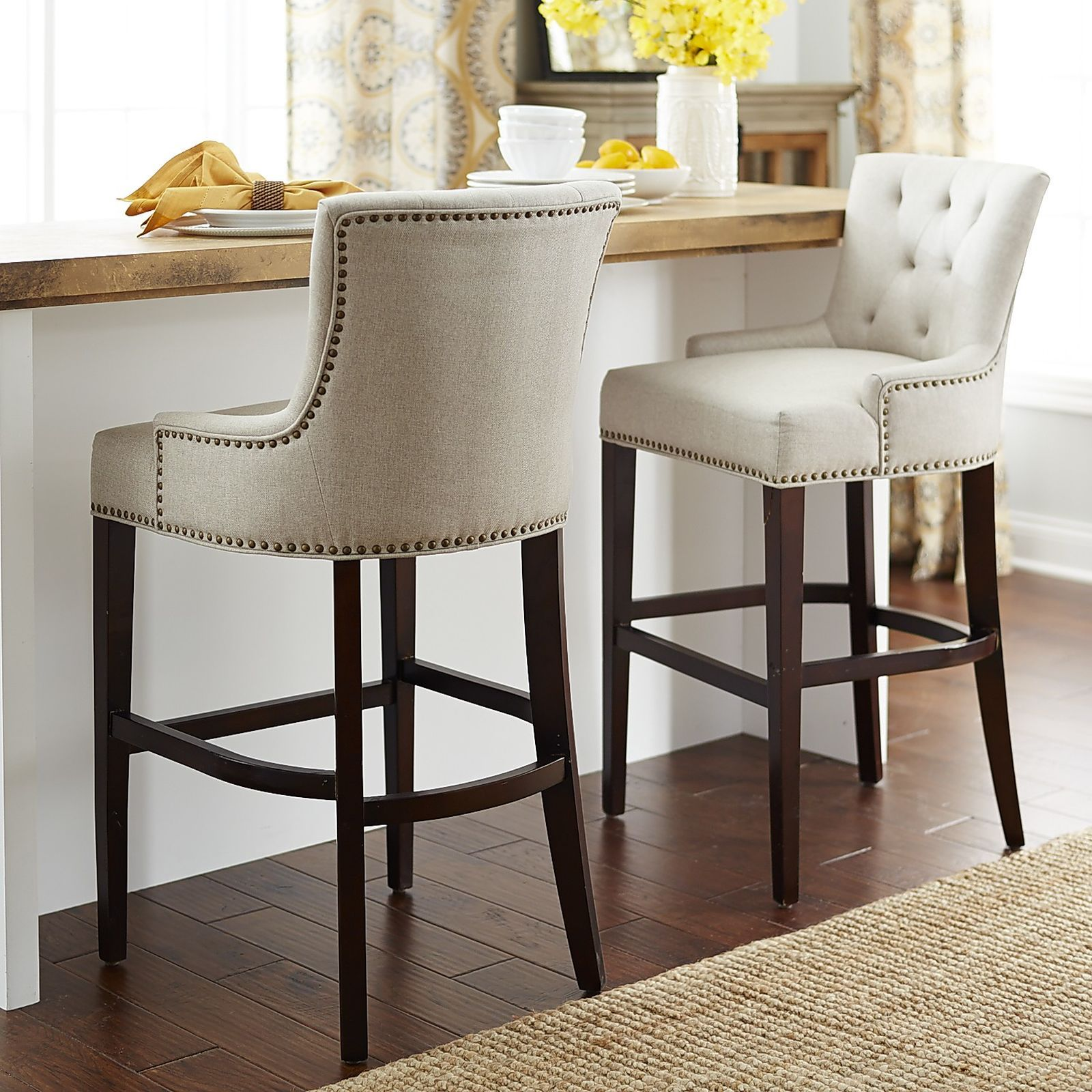 comfortable kitchen chairs Our Ava stools offer a most elegant perch Classic tailoring includes a comfortable contoured back