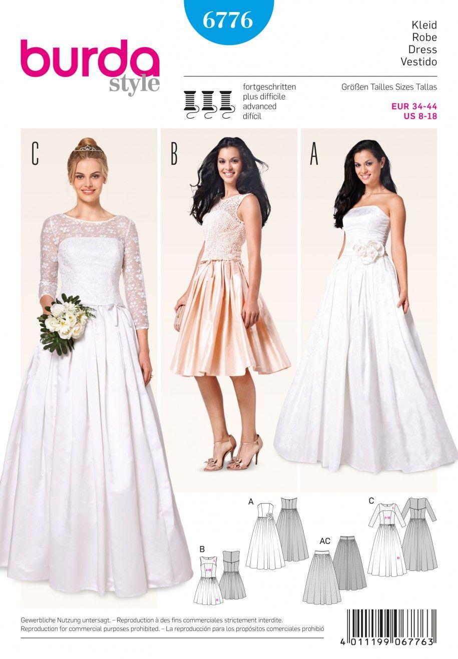 wedding dress sewing patterns Burda B Evening Bridal Wear Sewing Pattern
