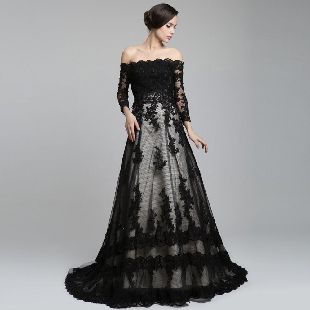 black dresses for weddings Off The Shoulder Long Sleeve Lace Long Train A Line Wedding Dress Black