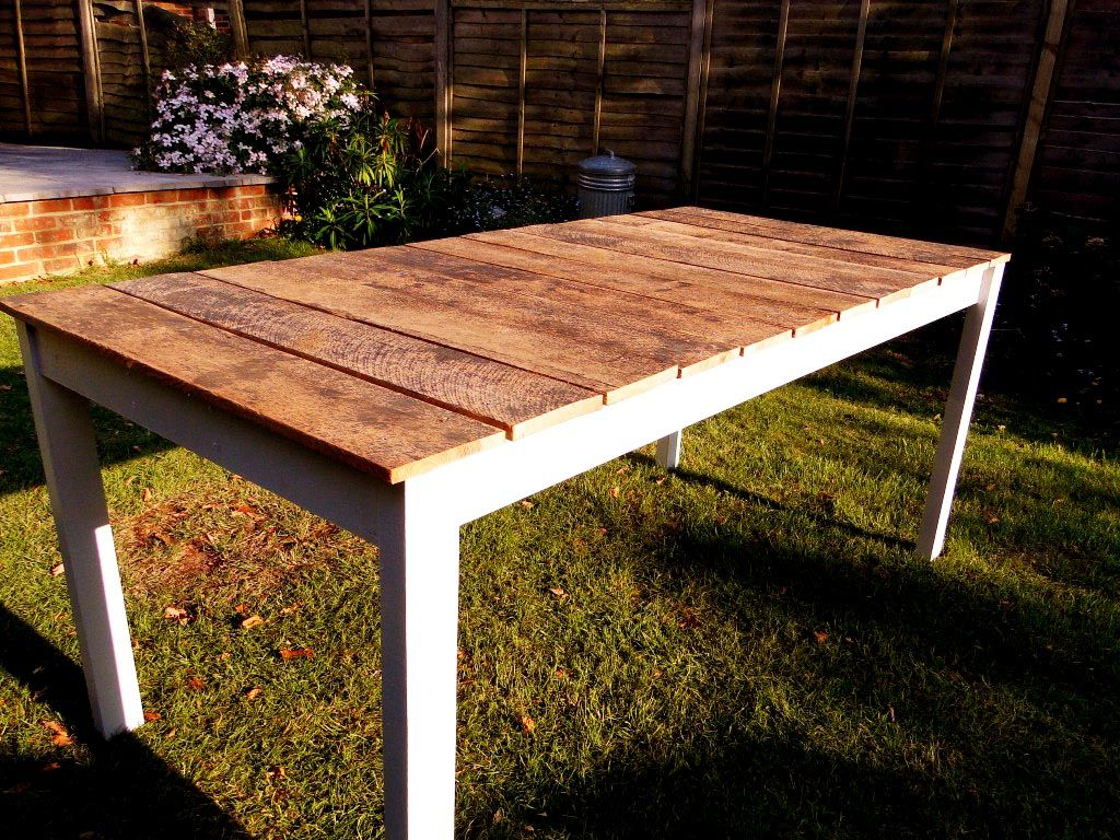 table ideas make kitchen table Make your own outdoor dining table Even I could do this I think