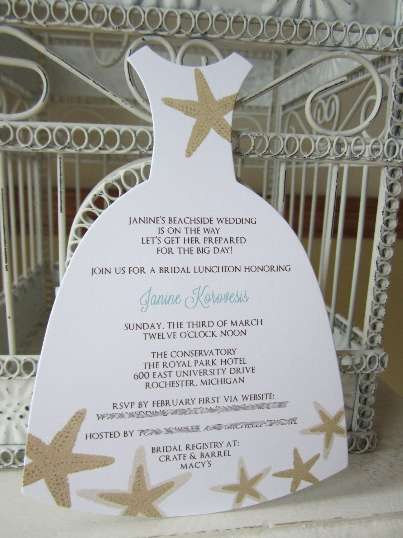 etsy wedding shower invitations Beach Theme Star Fish Bridal Shower Invitation Custom Order for Julie