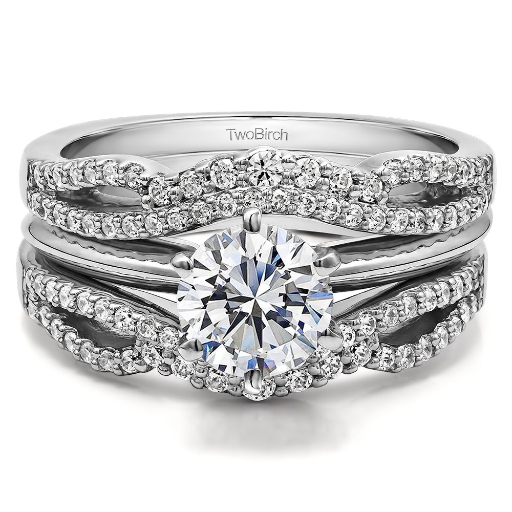 wedding ring guard Double Infinity Wedding Ring Guard Enhancer 0 49 ct twt