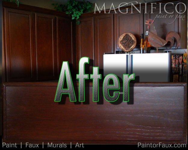 kitchen cabinet stain Refinished Cabinets After the stain conversion from Honey Oak color to Rich Dark Walnut Stain