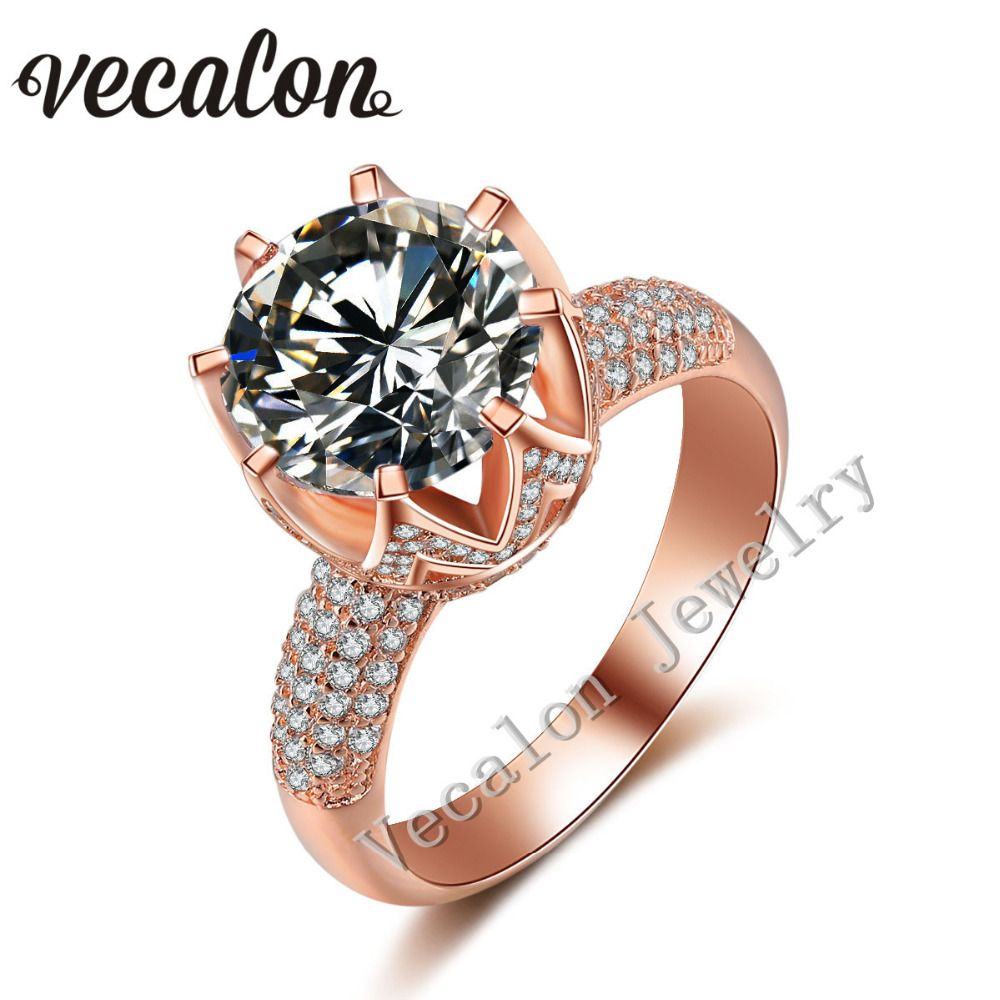 crown wedding rings Cheap Rings Buy Directly from China Suppliers Vecalon Yellow gold Crown wedding ring for