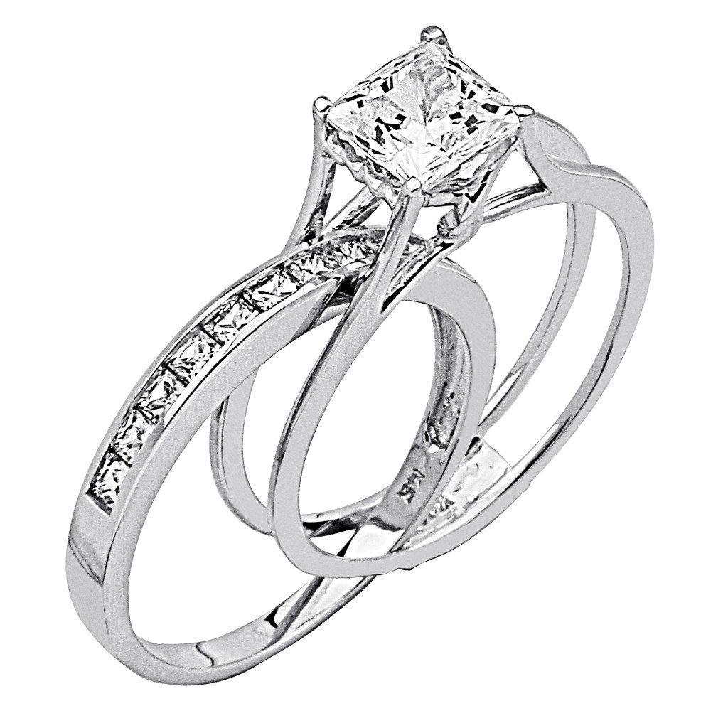 wedding rings for women Wedding Rings For Women Princess Cut 14K White Gold High Poliosh Finish Princess cut Ring