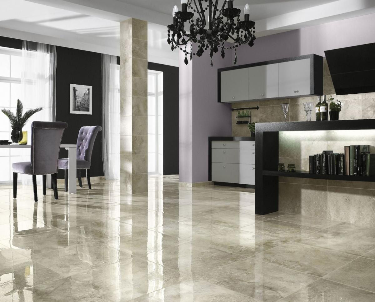kitchen tile floor Glossy Marble Ceramic Tile Floor Ideas For Modern Living Room Use J K to