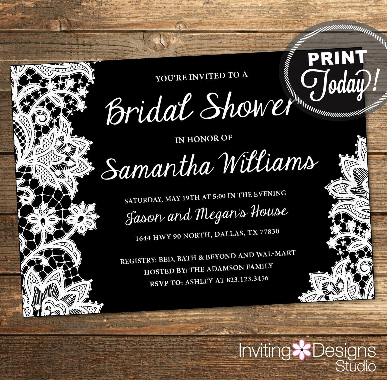 etsy wedding shower invitations Lace Bridal Shower Invitation Wedding Shower Invitation Lace Black White Printable
