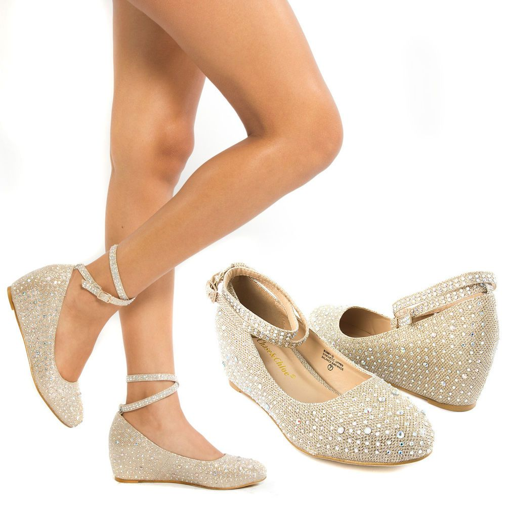 wedding wedge shoes New Gold Ankle Strap Crystal Wedge Med Low Heel Pump Wedding Bridal Shoe US 6