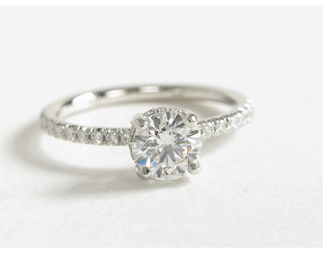 crown wedding rings 1 Carat Diamond Blue Nile Studio Petite French Pav Crown Diamond Engagement Ring Blue Nile