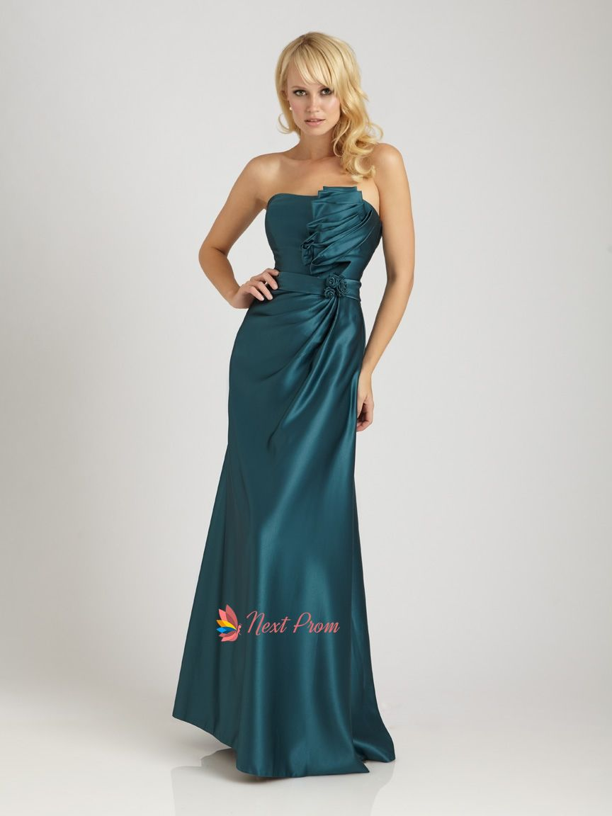 teal dresses for wedding Dark Teal Prom Dresses Long Teal Strapless Maxi Dress With Ruffled Top