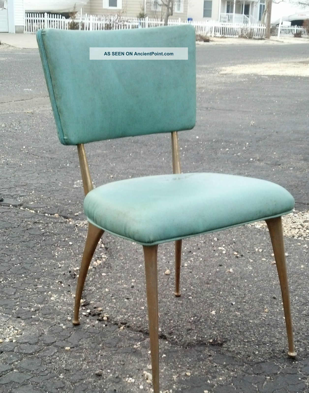 kitchen chair Set Of 4 Mid Century Eames Era Aqua Brass Legs Kitchen Chairs Dirty Not Damaged
