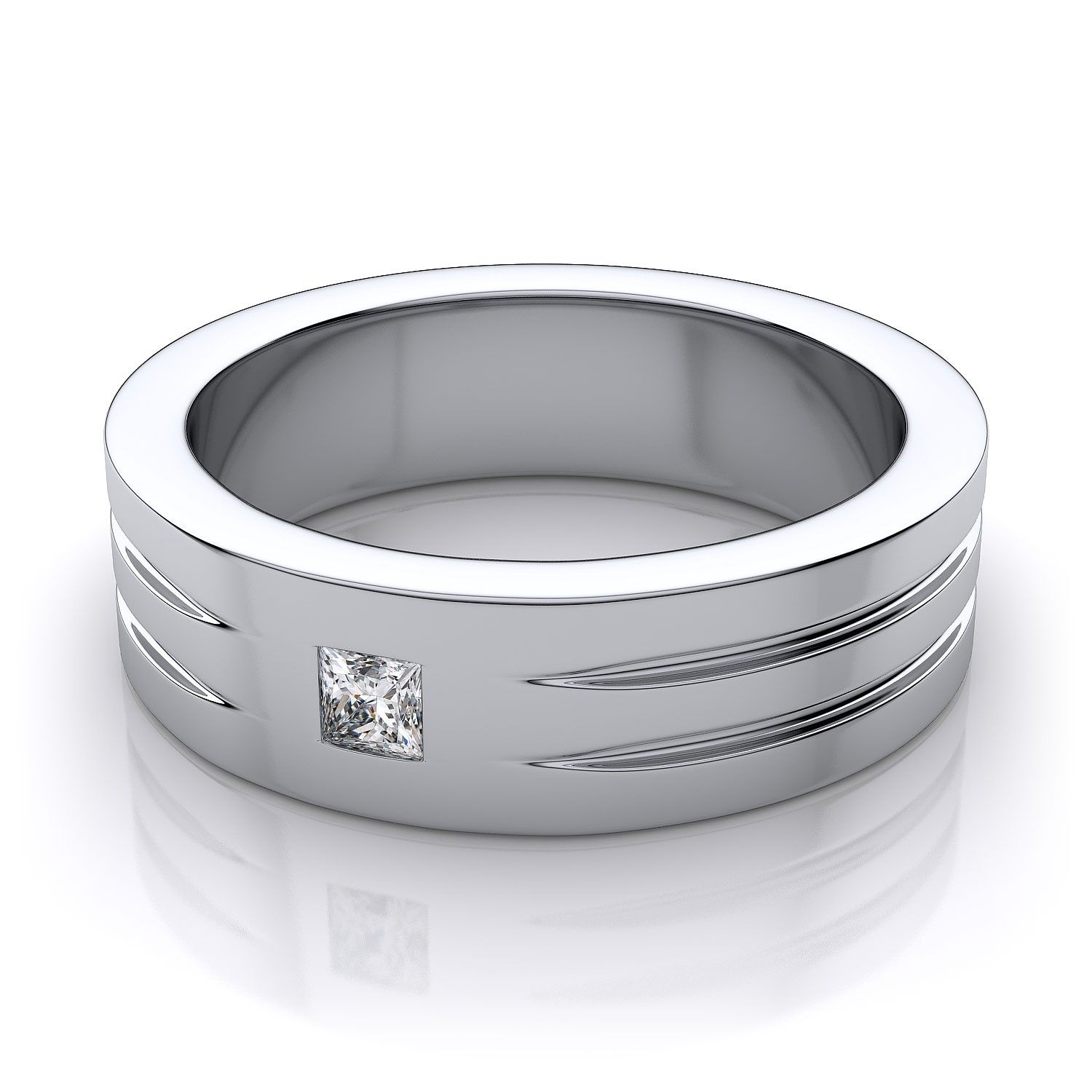 white gold wedding band Men s Princess Cut Diamond Wedding Ring in 18k White Gold