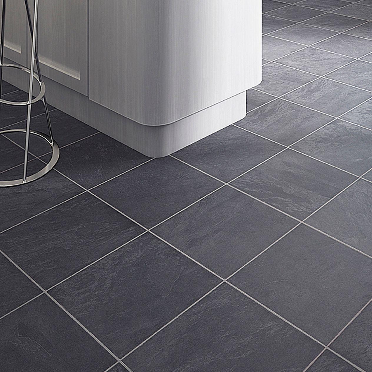 laminate kitchen flooring Colours Leggiero Blue Slate Tile Effect Laminate Flooring 1 72m Pack Rooms DIY at