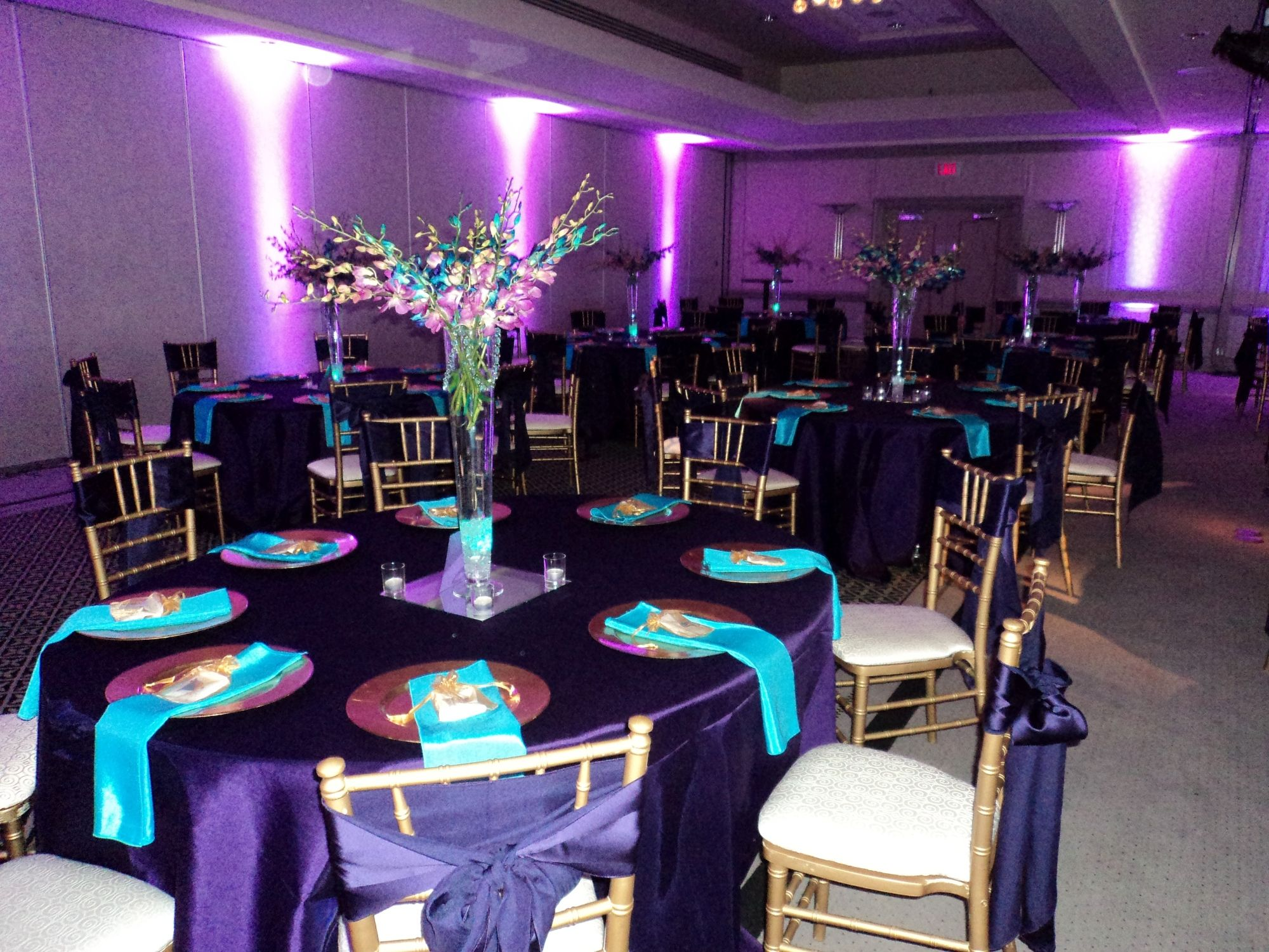 purple and gold wedding Purple Teal Gold 2 Silva Designs Wedding Decor Rentals