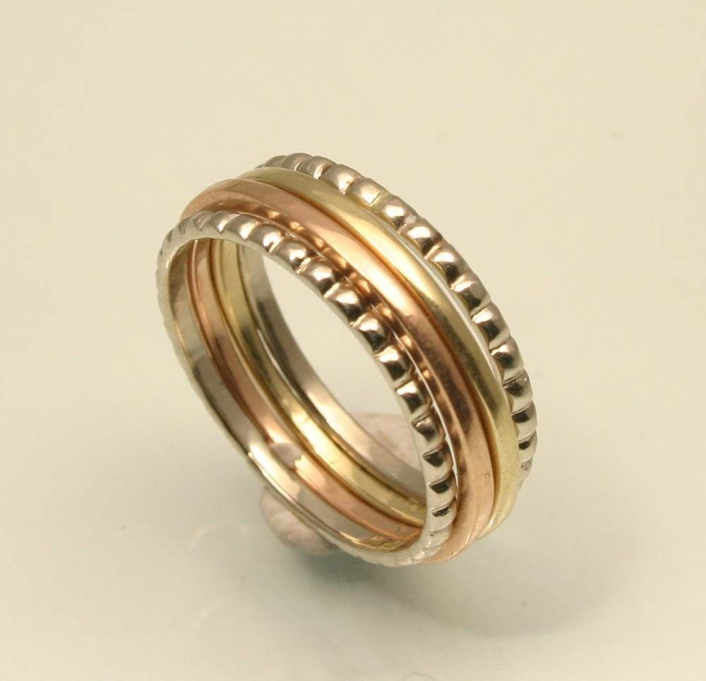 build a wedding ring Elizabethan Style 14k Gold Set of Four Stacking Gold Rings Handmade in Maine