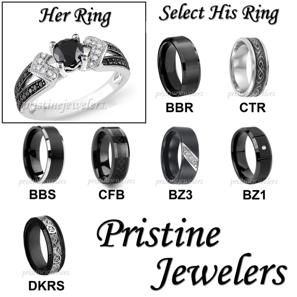 wedding band sets His Hers Wedding Ring Womens Sterling Mens Silver Black Tungsten Band SET