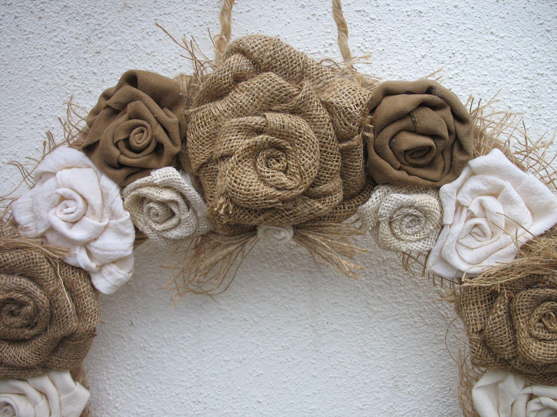 wedding themes burlap burlap wedding ideas Burlap Rose Wreath For the Door Burlap Wedding Decoration Wedding Wreath