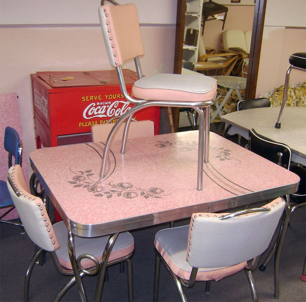 kitchen tables and more Chrome And Formica Dining Sets Pink Patterened Formica Set OLD DINETTE SETS Vintage Kitchen TablesKitchen