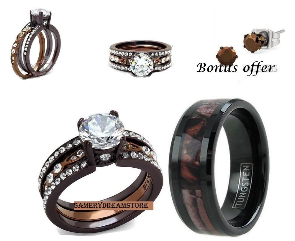 mens camo wedding bands His camo and hers brown men s women s cz stainless steel engage wedding ring set