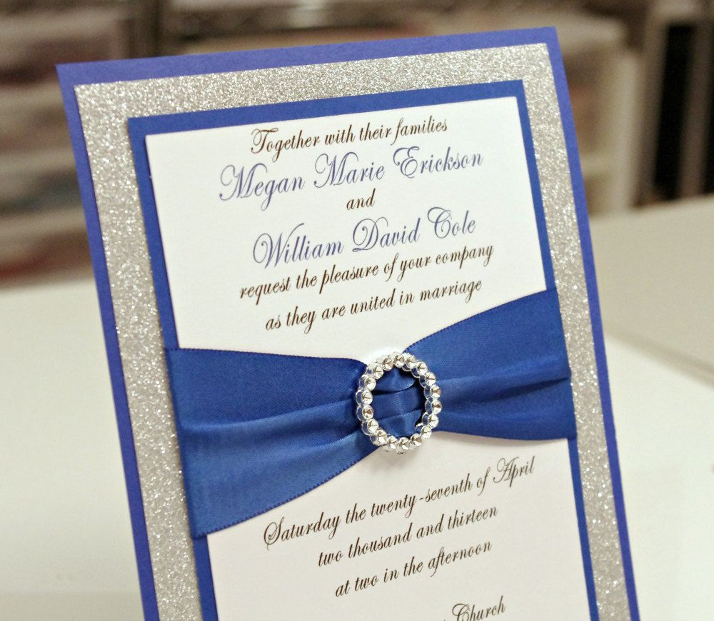 wedding invitations with ribbon Stunning Royal Blue Silver Glitter Wedding Invitation Full of Bling Sparkle and Dazzle via Etsy