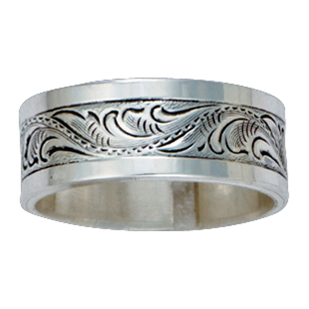 wedding ring engraving Size 10 Pure Montana Men s Sterling Silver Engraved Band RG21M 10
